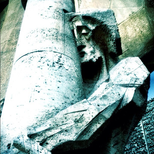 The Passion at Subirachs entrance in Sagrada Familia. #barcelona #spain #architecture  (Taken with instagram)