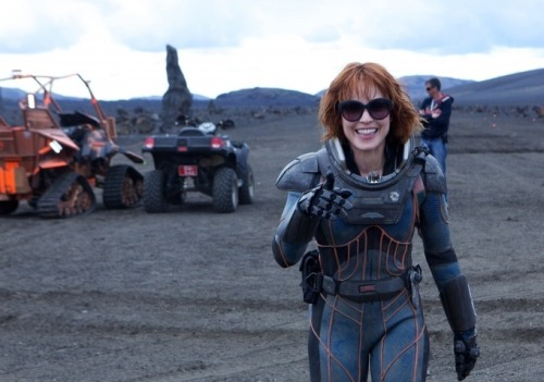 Noomi Rapace on the set of Prometheus, 2012.