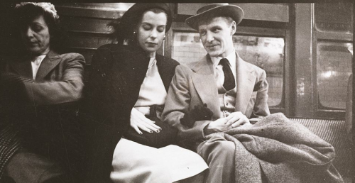 A picture of a couple on a 1940s New York subway, taken by a young Stanley Kubrick. The famed director used a sly approach, gathering a portfolio of 'shot from the hip' photographs taken without his subjects' notice.
