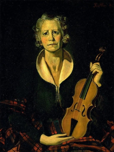 Woman with Violin  1936 Oil on Burlap 81 x 65.4 cm by Balthus (Balthasar Klossowski [or Kłossowski] de Rola) (1908 – 2001)