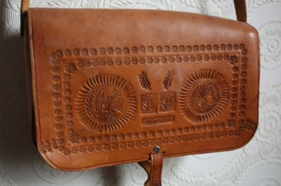 What Would Khaleesi Wear? Hand Tooled Leather Native American Southwestern Tribal Cross Body Satchel