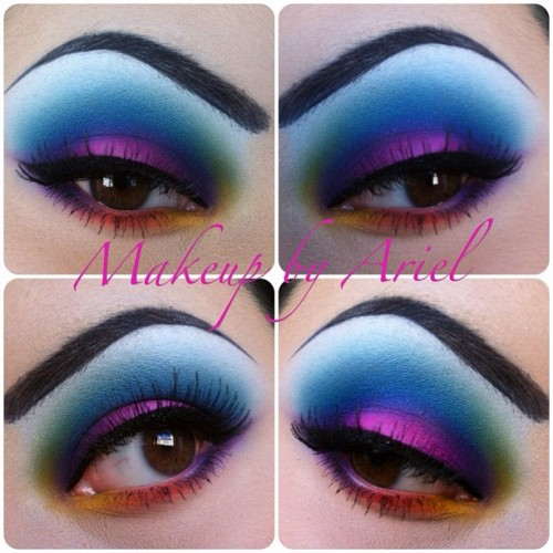 ariellizarraga:  All colors from @sugarpillmakeup, mixed a lot of the colors with Tako to create some new/lighter colors 💜💗💙💚 #colorfuleyemakeup #sprkle_makeup59 #pressedshadow #lashes #liner #color (Taken with instagram)
