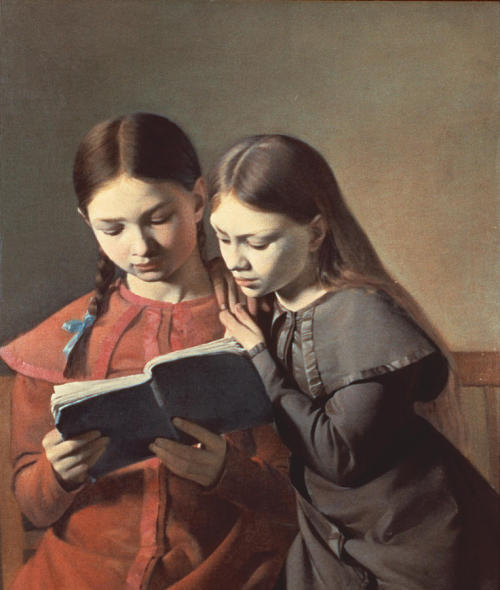 books0977:  The Artist's Sisters Signe and Henriette Reading a Book (1826). Constantin Hansen (1804-1880). Oil on canvas. Nordiska Muséet. Hansen often used his sisters and friends as models; using simple costumes, poses and compositions, he managed to endow his pictures with the intimacy and warmth that mark the Danish Golden Age. The Artist's Sisters Signe and Henriette Reading a Book is a fine example of his combination of natural observation with Neo-classical idealization.