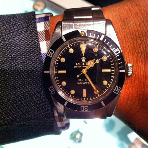 Vintage #Rolex #Submariner  - #Dive stratfordave:  Rolex Sub 5508 1958 with no crown guards and gilt dial is what's on my wrist #rolex #submariner #5508 #womw (Taken with Instagram at Las Vegas Antique Jewelry & Watch Show)