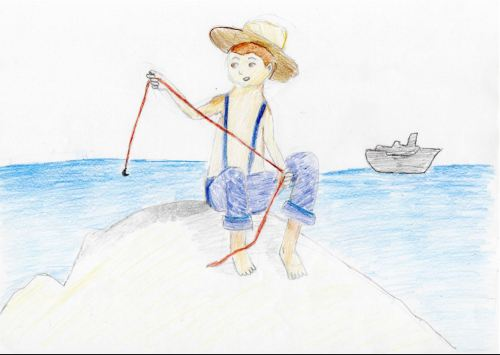 The Adventures of Tom Sawyer By Mark Twain - Artwork By Daniela - Age 12, WA My picture is one of Tom Sawyer sitting on the coast of Jackson's island, making himself a fishing line. The black ship in the distance is the funeral ship searching for his body, for everybody back home believes that he went for a swim and drowned. He has no idea of this, and that is obvious because of his carefree attitude.