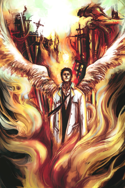 timeywimeyimpala:  castiel-sherlock-watson:  Castiel in fire by ~wuyemantou  #Later dean wouldn't remember #putting a soul back in a body is tricky business #a bit jarring #some memories are lost #but sometimes he dreams of the real first time he saw Castiel #in the pit #broken and burned and stained#an angel came to him #wreathed in fire and flames #and he scooped him up #cradled his broken soul #and it was cool #not cold #or burning hot #but cool like peace and the breeze at the edge of a mountain lake #and it was so safe #and it raised him up#through screams and black and sulphurous fumes #back into the light #it brought him home #the angel  via deanosaur