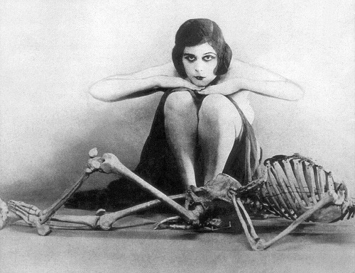 early 20th century macabre skeleton theda bara vintage Black and White