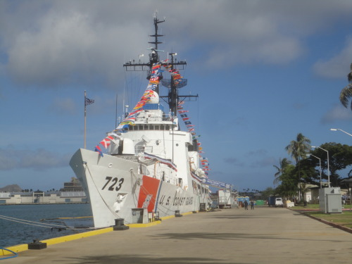 "unitedstatescoastguard:  The CGC RUSH prepares for its Change of Command Ceremony by ""dressing ship."" RUSH held its change of command on 24 MAY 12. -Photo by 1/c Cadet Stephen Nolan"
