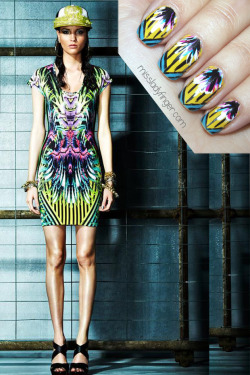 missladyfinger:  MANICURE MUSE: Just Cavalli Resort '13 ATTENTION: Wallflowers need not apply. The Just Cavalli Resort '13 collection is not for the timid and meek. This collection makes a bold statement with hot tropical and animal print in simple silhouettes. Clearly influenced by hip-hop culture it's easy to close your eyes and picture M.I.A. rocking the neon cheetah bomber and revved up baseball hat. I love everything about this collection. It's loud. It has attitude, and even more importantly, the options for nail art are endless. Although it was difficult to refrain from my own personal ladyfinger print explosion, I took a deep breath and chose this psychedelic body con dress to start.  To emulate this look, I used Carnaby Street by Nails Inc, Flying High by China Glaze and white, hot pink, blue, and black by Color Club Duo. To get these ladyfingers: 1. Start with a full yellow nail 2. Using teal, paint the corners of your nail so the tip forms in the center 3. With a black nail art pen/brush paint vertical stripes down the yellow portion 4. Continue by making 2-3 diagonal lines along the teal 5. Layer strokes of color to create a feather-like effect (start with white, then blue, then pink, and finish with black) 6. Top it off with top coat (Photo: Fashionising.com)