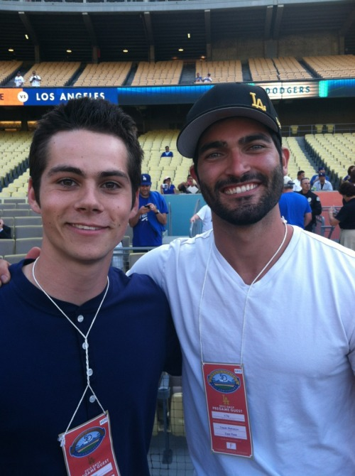 teenwolf:  Hey Dodger's fans, Tyler Hoechlin is throwing out the first pitch at tonight's game, and Dylan O'Brien is catching it!