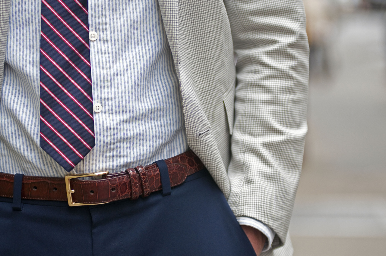 STYLE 101 The perfect tie length.  No excess belly showing, no tie over the belt. View the full look of Ariel Burman shot for Details.com (click link)