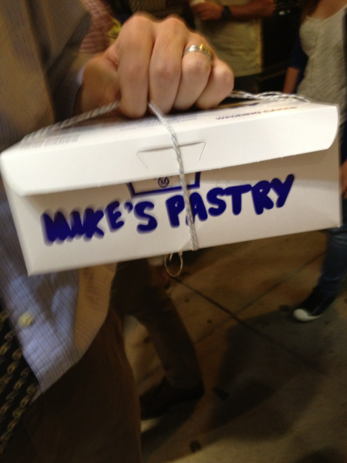 New order of Boston business: try Mike's Pastry. Check.