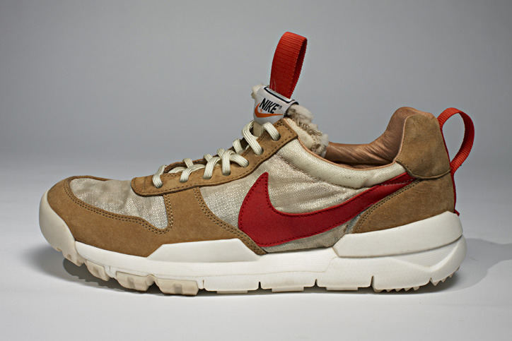 Tom Sachs x NikeCraft Mars Yard shoes Outsoles borrowed from the NIKE special forces boot (SFB), vectran fabric from the Mars Excursion Rover airbags, and detailing from Apollo Lunar Overshoes. These premium athletic shoes thrive in the rugged terrain of the simulated Mars Yard in Pasadena, CA - as well as stealthily creeping the mission-funding hallways of headquarters in Washington, D.C.