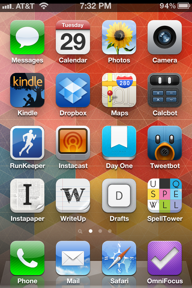 ## AARON MAHNKE'S HOME SCREEN ##  My home screen is pretty boring, to tell you the truth. I've got this 5-year old habit of trying my best to keep the original icon order. When a better app comes along that can take the place of an Apple app, I will swap it out. That's how CalcBot made it onto my home screen. And honestly, if you don't use CalcBot, you're missing out. But of the more significant apps on my home screen, here's my explanations:  Kindle App I read a lot. And I also write a lot. I have two novels available for the Kindle. And so the Kindle app serves a number of roles for me, serving as a test device for book formatting, a place to store odd documents for meetings and such that I need to read, and my library in my pocket. I love the app.  RunKeeper I don't run. This is for walking. I hate running. And if I've not been clear enough, I hate running. But this is a great app for logging my GPS route each morning, keeping a running list of dates with time and distance, and the web interface is a nice touch as well when I need it.  Instacast I'm rocking the older version, and won't be upgrading to 2.0 anytime soon. This is the app that I use while I take my morning walks (4 miles, about 55 minutes), and it's full of nearly a hundred unplayed episodes of history-related podcasts that I enjoy. As well as a bunch of shows on the 70 Decibels Network…most of which I am responsible for the podcast logo design. So I'm biased. And I hate running.  TweetBot Can I gush enough about this app? I love every. Single. Thing. About it. But I hate running.  WriteUp Fantastic text editor that syncs with Dropbox. And I designed the app icon, so again, I'm biased.  Drafts Capture stuff before it vanishes. Ideas, tasks, notes, whatever. Drafts if a great way to grab the content before it evaporates, and then allows me to send that text to whatever app I want. And I designed the app icon. Again, biased.  SpellTower Mr. T, and myself, pity the fool who hasn't played SpellTower. Seriously. Why are you even reading the rest of this paragraph? Just go get it. Trust me.  And I hate running.