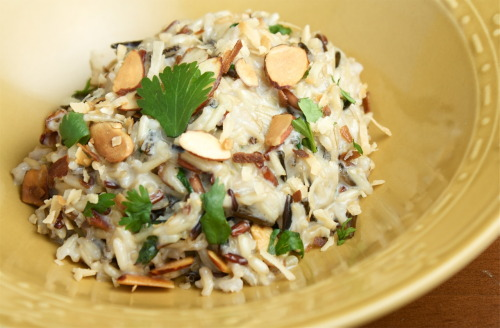 Coconut Wild Rice with Cilantro and Toasted Almonds1/2 cup Wild Rice3/4 cup Coconut Milk2 Tbsp Slivered Almonds1 Tbsp Shredded CoconutFresh CilantroPreheat oven to 350 degrees.  In a pan, toast almonds until light brown.  Remove from oven and toast shredded coconut until light brown.  Remove from oven and set aside.  In a sauce pan, bring 1/2 cup of rice to a boil with about 2 cups of water.  Reduce heat, cover and simmer until rice is al dente.  Remove any excess liquid.  Pour coconut milk over the rice, stir and continue to simmer until coconut milk reduces to the consistency you like.  Remove from heat.  Chop cilantro (as much or as little as you'd like) and toss into rice.  Toss in most of the almonds.  Garnish with toasted coconut, remaining almonds and cilantro.  Serve hot.   The Bored Vegetarian surpassed 20,000 followers last night.. WOW and thank you for reading!   You can like The Bored Veg on Facebook and follow my musings about ingredient combinations and bad band name ideas on Twitter.