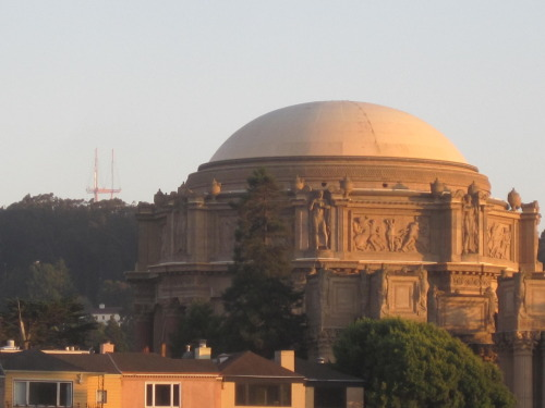 Sutro Tower photobombing the Palace of Fine Arts.