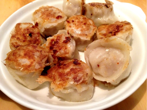Fried chicken & prawn dumplings