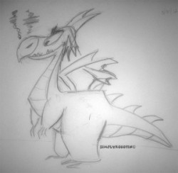 This sketch was inspired by Insomnia Games' Spyro the dragon character concept design by Charles Zembillas (via Day 45 / 320)