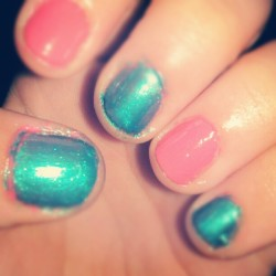 Womp. #nails #pink #blue #sallyhansen (Taken with instagram)