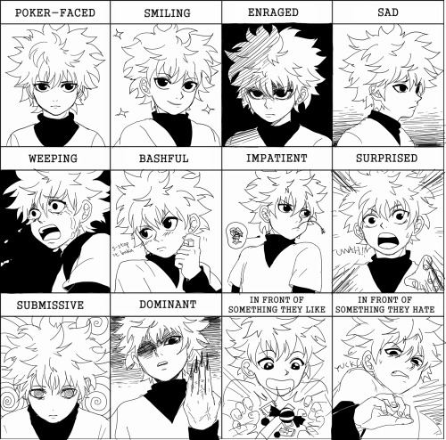 neile:  tried that pixiv expression meme!! featuring killua my bb ok this was obscenely hard to do ;_;; i'm really disappointed in myself SIGH first off i can't draw killua's hair consistently to save my life. i can't count how many times i had to redraw his crazy puffy hair !! a lot of the expressions don't really match the one given b/c i suck too much to pull them off (like da fuq that is not weeping that's like.. screaming lol and killua does not scream)  sorry i ruined his characterization real bad here -rips hair out-