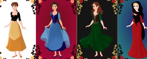 Jamie, Lisa, Me and Rowan as if we were Disney characters. Jamie loves black and yellow so I gave her those colors (she also has yellow flats). I see her as a village character but that in no way means she's not a kick ass heroine. Lisa has a dark blue dress that is a little Belle-esque and she too is more of a down to earth village girl. However, she is the hero of her own story. I chose a simple green dress for myself with a flower in my hair to show my love of the earth. Rowan has a dark hood and red dress to show off her feisty feminine style. She is a strong girl who is in control of herself and leads her own life.