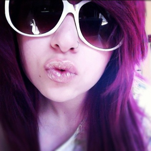 Missin' the purp. 💜 #me #purple #hair #old #shades  (Taken with instagram)