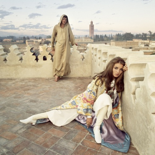 forties-fifties-sixties-love:  Paul and Talitha Getty in Marrakech, Morocco 1969  Love the vaguely Christian Iconography, especially with that 1960s spin. Talitha as Mary Magdalene, anyone?