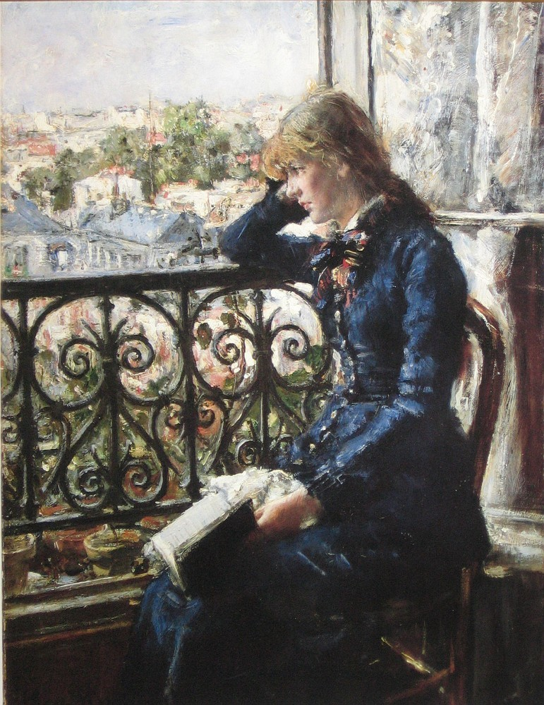 "At the Window (1881). Hans Heyerdahl (1857-1913). Oil on canvas. Musem: Nasjonalgallerie. Heyerdahl studied in Paris with Leon Bonnat. For Norwegian painters of his generation, the Salon of French artists was the major event. ""Happiness was to hang on the walls, paradise was to get a medal."" (Knut Berg). Heyerdahl get two medals in Paris, including a gold in 1889. ""Did you see in the newspaper how Heyerdahl was praised for his 'dying child' and do you know he sold his painting to a museum in Paris."" (Munch, 1882)."