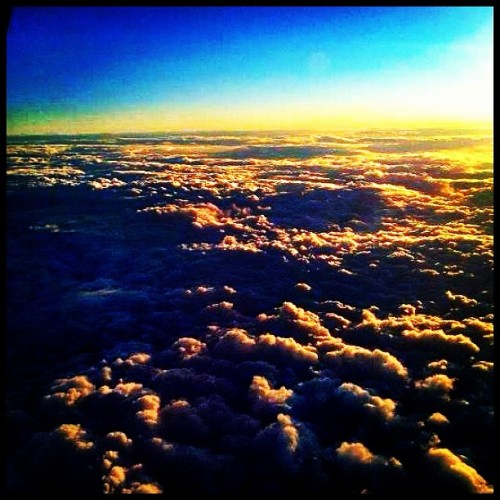 View from the plane on my way home! ✈🌅☁ #airplane #travel #fly #awesome #clouds #sunset #nature #beautiful  (Taken with instagram)