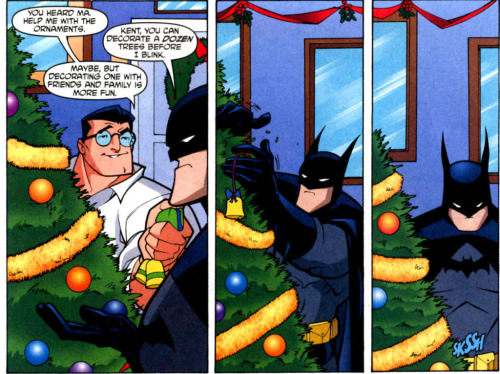 tealgeezus:  silencingthedrums:  Batman Why are you decorating a Christmas tree in your batsuit Why are you so fucking kawaii  Decorating a tree is SERIOUS BUSINESS, CLARK.