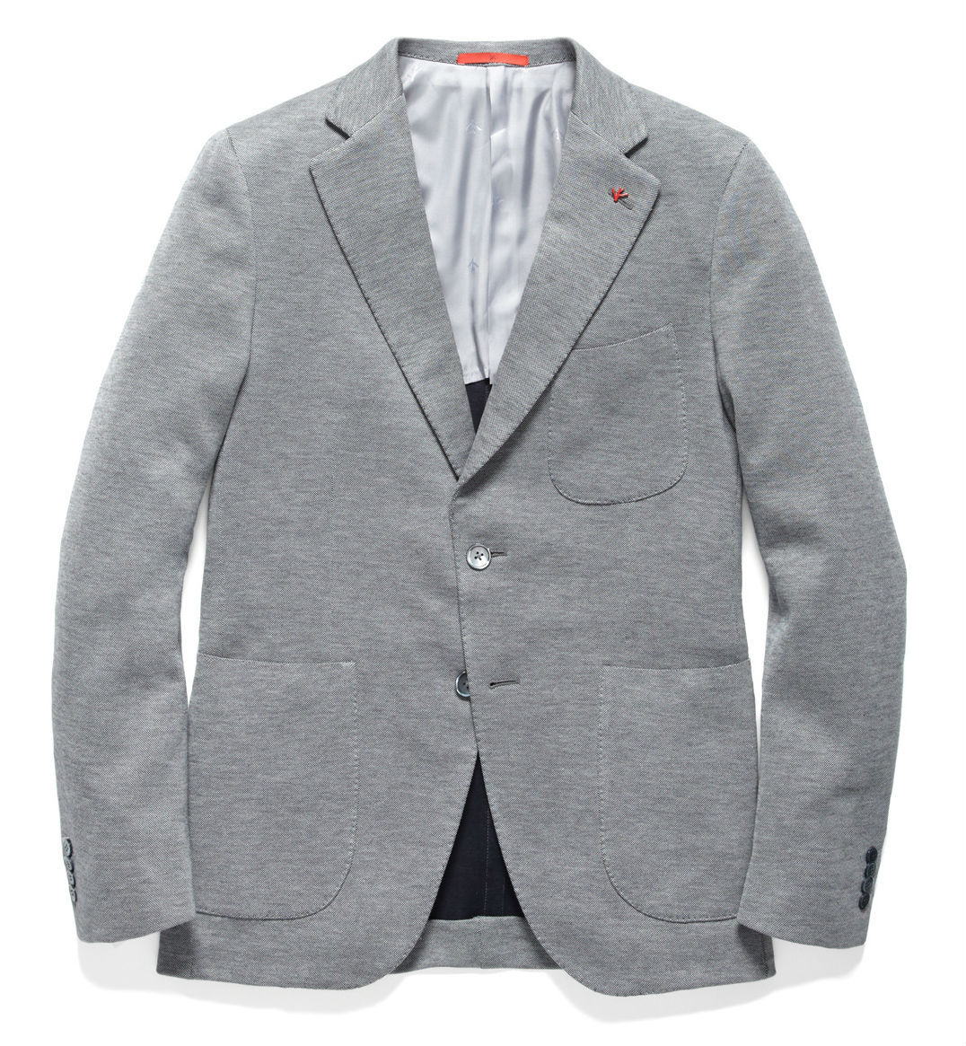 "OUR PICK OF THE WEEK- ISAIA COTTON JERSEY ""SAILOR"" SPORTSCOAT Having recently gleaned much inspiration from Thom Browne and Gant Rugger for all the shades of grey its only fitting that Styleternity's pick of the week is this wonderfully constructed soft shouldered sports-coat.  Constructed in the fashion typical of Neapolitan tailoring this is a simple and beautiful jacket with all the trimmings of its $1077 USD price point. It includes jetted interior pockets, detachable Isaia coral lapel, working kissing buttons and is made with mother of pearl button closures. In the lightest shade of gray this jacket would work equally well with a charcoal or navy tie, and its relaxed construction means you can take it on the road with a polo and chinos if you wish to dress down for a casual occasion.  Available now from Park & Bond STYLETERNITY"