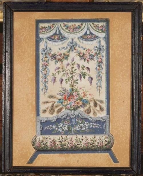 Embroidery design for the bedroom of Marie Antoinette in her Grand Chamber at Versailles. (C) RMN (Château de Versailles) / Gérard Blot