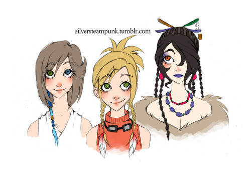FFX girls.  Rikku reminds me a little of my OC Natsuki, I think it's the goggles.