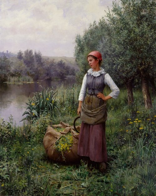 aleyma:  Daniel Ridgway Knight, Girl by a Stream, Flanders, c.1890.