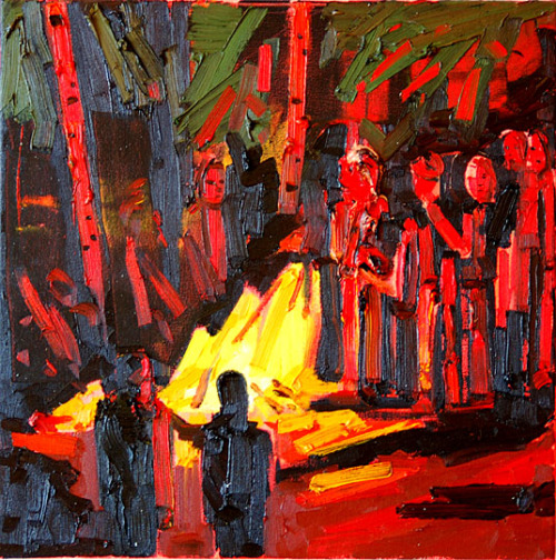 "Kim Dorland ""Fire Pit"" 2006 oil on canvas 20"" x 20"" (via Three Painters: Kim Dorland)"