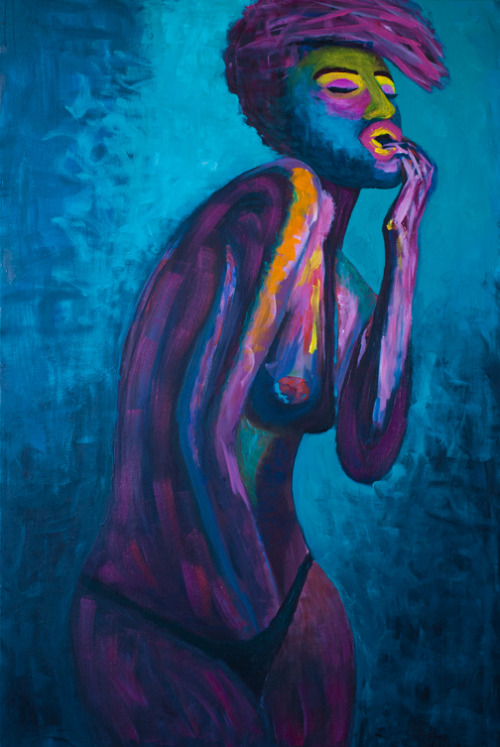 "sheroxlox:  ""Self Portrait"" by Louise DiamondAcrylic on Canvas 24 x 36"