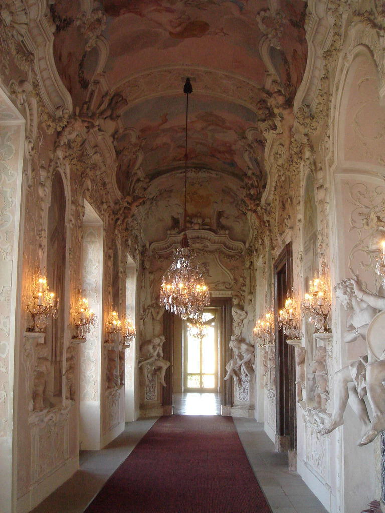a-l-ancien-regime:  Satyr Cabinet Hallway Ludwigsburg Palace This hallway is decorated in ornate stucco work and sculptures in the Baroque style.