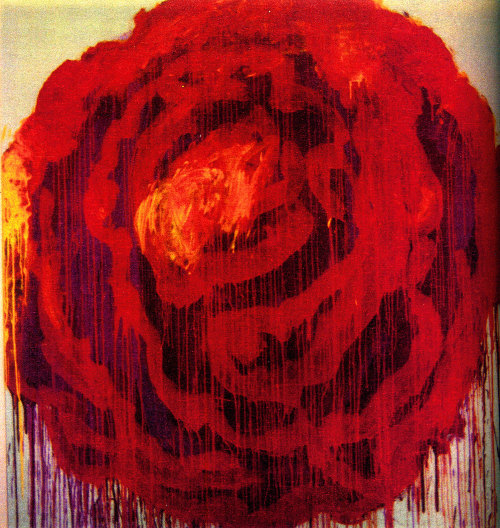 Cy Twombly - Painting detail of Roses,Gaeta, 2009. Dryprint on cardboard