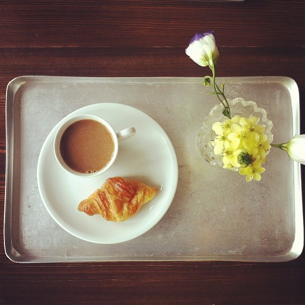 Second breakfast #coffee #croissant (Taken with Instagram at Michelberger Hotel)
