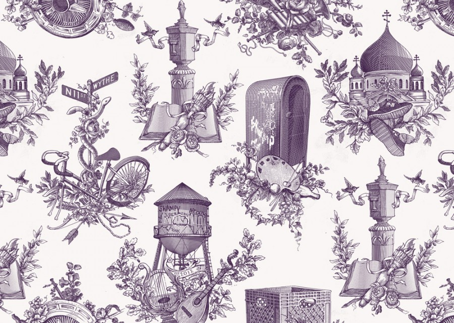 "Not that kind of Wallpaper  Artist Dan Funderburgh just created Williamsburg Renaissance, a wallpaper that will be hanging in North Brooklyn, New York. This design is very interesting and will definitely keep you occupied for a few moments. Being not the typical, old-school flower design, but  signifying ""the rebirth of culture,"" Funderburgh has not only invented something beautiful to look at, but was well something relevant and meaningful."