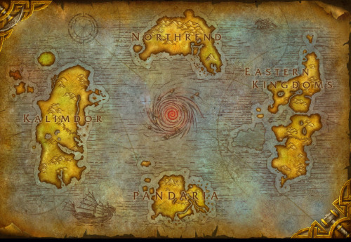 Azeroth's map in Mists of Pandaria