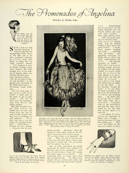 sydneyflapper:  1924 article on the Dolly sisters - well worth reading if you can in high res.