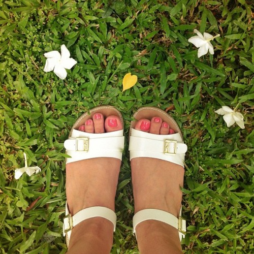 Super casual Friday, wearing beachy sandals & OPI Chapel of Love nail polish (Taken with instagram)