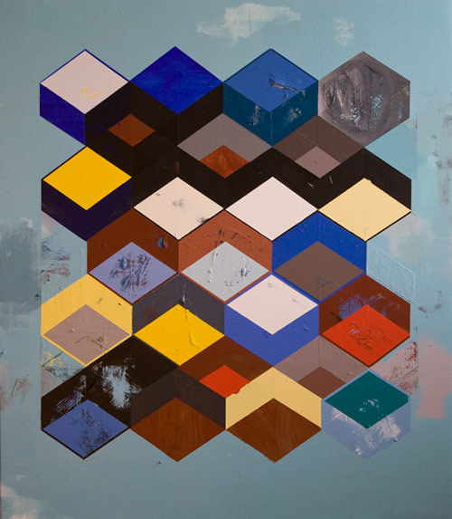 2headedsnake:  jeffdepner.com Jeff Depner, Reconfigured Grid Painting no.18 acrylic on canvas / 50x43 / 2012  found via robotmafia.com