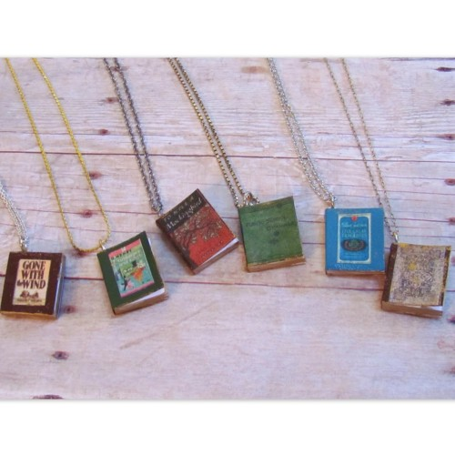 DIY Easiest Book Cover Pendants Ever Tutorial. These were created using miniature books (cheap), word (not photoshop), and book covers that are linked. Tutorial from Two Butterflies here.