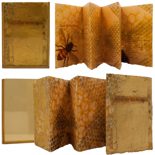 "fuckyeahbookarts:  Show Me The Honey by Mary Taylor ""Inspired by bee colony collapse disorder. 6 page accordion fold book, Arches paper, gelatin monoprint outside, digitally printed interior pages. Finished with encaustic, gold leaf, inkjet transfer and metallic pigments. Case: wood and gold colored transparency film. 7.25"" x 5"" Variant Edition of 15."""