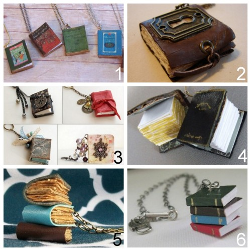 truebluemeandyou:  Roundup of DIY Mini Book Jewelry Tutorials: DIY Easiest Book Cover Pendants Ever Tutorial (Two Butterflies) here. MY FAVORITE. DIY Mini Book Necklaces with Charms (Art by Wendy) here. DIY Mini Book Pendant (Scrapshopchallenge) here. DIY Teeny Tiny Leather Spell Book (Ruby Murrays Musings) here. DIY Anthropologie Inspired Library Stack Necklace (Crafster) here. DIY Knockoff Library Stack Necklace from Anthropologie (Scene of Sublime) here.