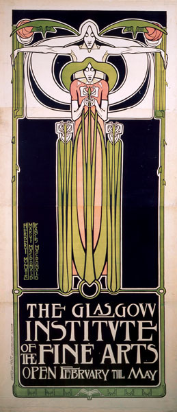 Margaret MacDonald Poster for the 'Glasgow Institute of the Fine Arts' (lithograph) ink on paper (236 x 102 cm) Printed by Carter & Pratt, Glasgow. Hunterian Museum, Glasgow, Scotland.