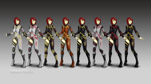 The 8 color sets of Freelancer CyberSuit. Palette swapping is a lazy thing, I know LOL..but it's fun.