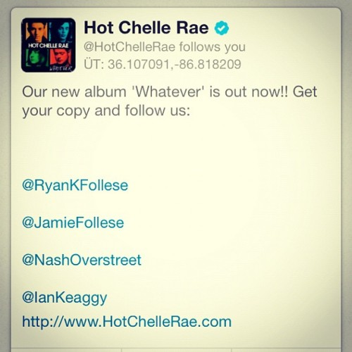 HCR is following me booyeah! :D #HCR (Taken with instagram)